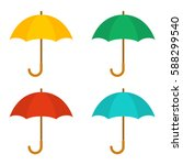 set of umbrellas. yellow  green ... | Shutterstock .eps vector #588299540