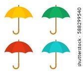 Set Of Umbrellas. Yellow  Gree...