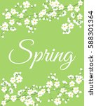card with spring flowers on... | Shutterstock .eps vector #588301364