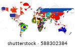 world flag map isolated on... | Shutterstock .eps vector #588302384