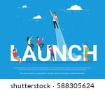 startup launch illustration of... | Shutterstock .eps vector #588305624