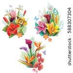 set of arrangements from... | Shutterstock .eps vector #588307304