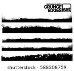 set of grunge vector ink edges  ... | Shutterstock .eps vector #588308759
