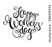happy women's day handwritten...   Shutterstock .eps vector #588309554