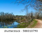 trail along lake at brazos bend ... | Shutterstock . vector #588310790
