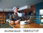 young handsome hipster man with ...   Shutterstock . vector #588312719
