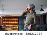 young handsome hipster man...   Shutterstock . vector #588312734