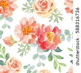 pink roses and peonies with... | Shutterstock .eps vector #588316736