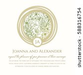 wedding invitation card with... | Shutterstock .eps vector #588316754