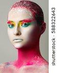 white skin. beautiful make up... | Shutterstock . vector #588322643