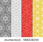 set of modern floral pattern of ... | Shutterstock .eps vector #588328244