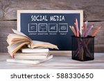 social media concept. stack of... | Shutterstock . vector #588330650