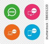 byod icons. notebook and... | Shutterstock .eps vector #588331220