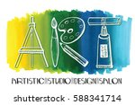 art salon design studio logo... | Shutterstock .eps vector #588341714