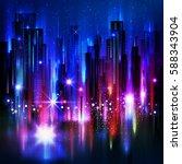 illuminated night city  with... | Shutterstock . vector #588343904