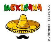 mexicana badge. mexican... | Shutterstock .eps vector #588347600