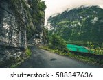 Narrow Scenic Road in Norway. Norwegian Mountain Road. - stock photo