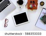 modern white office desk table... | Shutterstock . vector #588353333