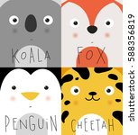 set of animal muzzles koala ... | Shutterstock . vector #588356819
