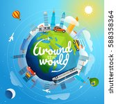 around the world tour by... | Shutterstock .eps vector #588358364