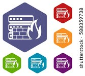 database and firewall icons set ... | Shutterstock .eps vector #588359738