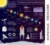 solar system space shuttle flat ... | Shutterstock .eps vector #588361088