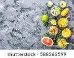 variety of fruit infused detox... | Shutterstock . vector #588363599
