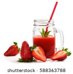 fresh strawberries and smoothie ... | Shutterstock . vector #588363788