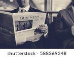 business men break sit read... | Shutterstock . vector #588369248