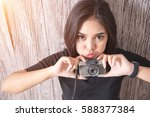 cute young asian woman with... | Shutterstock . vector #588377384