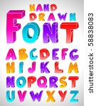 hand drawn vector font. letters.... | Shutterstock .eps vector #58838083