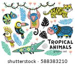 collection of mountain animals... | Shutterstock .eps vector #588383210