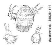 hand drawn vector happy easter...   Shutterstock .eps vector #588384644