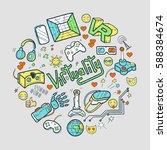 hand drawn vector happy easter... | Shutterstock .eps vector #588384674