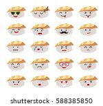 funny sushi characters vector... | Shutterstock .eps vector #588385850
