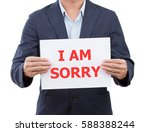 businessman holding board with... | Shutterstock . vector #588388244
