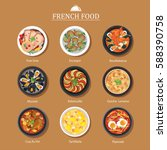 vector set of french food flat... | Shutterstock .eps vector #588390758