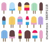 collection of fun popsicle... | Shutterstock .eps vector #588391118