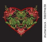 embroidery. embroidered design... | Shutterstock .eps vector #588394658