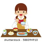 schoolgirl eating japanese... | Shutterstock .eps vector #588394910