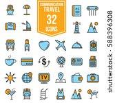 travel icos flat design ... | Shutterstock .eps vector #588396308