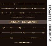 set of vintage golden dividers. ... | Shutterstock .eps vector #588399266
