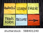 Small photo of awaken, learn, evolve, transform and become - inspirational handwriting on sticky notes against black lokta paper