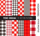 red picnic tablecloth gingham... | Shutterstock .eps vector #588404504
