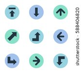 set of 9 simple arrows icons.... | Shutterstock .eps vector #588406820