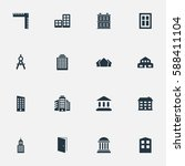set of 16 simple structure... | Shutterstock . vector #588411104