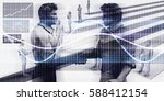 business handshake on digital... | Shutterstock . vector #588412154