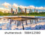 downtown houston skyline in... | Shutterstock . vector #588412580