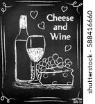 wine and cheese. on the... | Shutterstock .eps vector #588416660