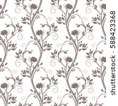 seamless floral pattern. stems... | Shutterstock .eps vector #588423368